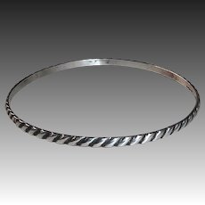 Sterling Diagonal Rope Pattern Bangle Bracelet