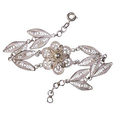Sterling Filigree Sculptural Flower Bracelet