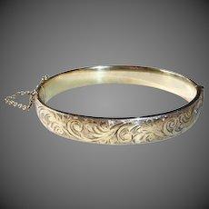 Birmingham Sterling Gold Filled Engraved Hinged Bangle Bracelet