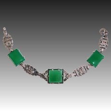 Art Deco Sterling & Marcasite Bracelet w 3 Chrysoprase Cabochons