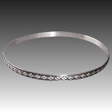Sterling Bangle Bracelet w Raised Diamond Pattern