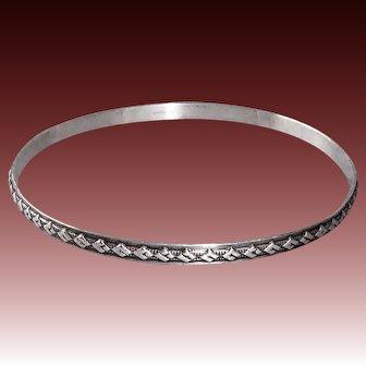 Sterling Bangle Bracelet w Raised Diamond Pattern