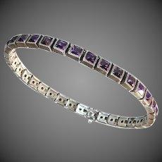 Sterling Art Deco Square Purple Paste Line Bracelet
