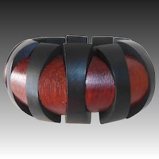 Ebony & Exotic Hardwood Dimensional Panel Stretch Bracelet