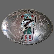 Native American Engraved Kachina Stone Inlay Silver Plated Buckle