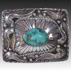Native American James Shay Navajo Sterling & Turquoise Belt Buckle