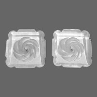 Large Reverse Carved Clear Lucite Square Buttons Set of 2
