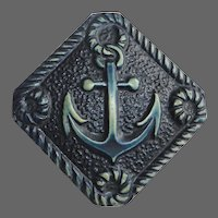 Large Tinted Celluloid Picture Button w Nautical Rope & Anchor Design