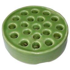 Large Porcelain Flower Frog Sage Green Glaze