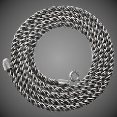 Sterling Silver Long Twisted Rope Chain Necklace
