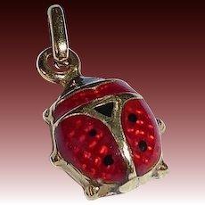 14k Enamel Ladybug Charm