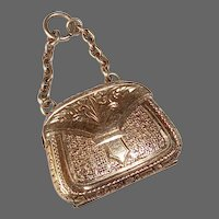 Rare Antique Victorian 14k Engraved Purse Mourning Charm/Pendant w Hair Insert