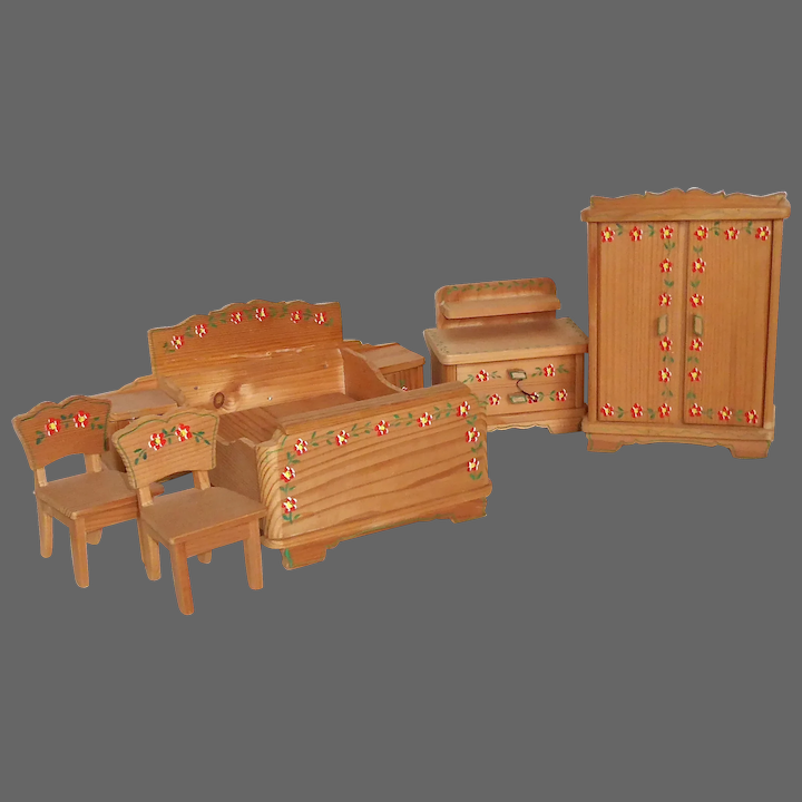 Dollhouse Furniture 5 Pc Wood Bedroom Set W Handpainted Decorations Bejewelled Ruby Lane