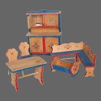 Dollhouse Furniture 7 Piece Wood Set w Hand Painted Trim