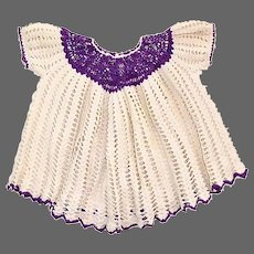 Hand Crocheted Cotton Baby or Doll Dress