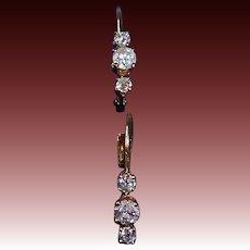 14k Three Diamond Leverback Pierced Earrings