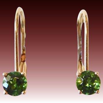 14k Tourmaline Leverback Earrings