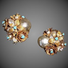 Early Miriam Haskell Unsigned Wired Faux Pearl Rhinestones & Flowers Earrings