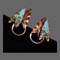 Renoir Matisse Copper & Enamel Double Leaf Clip Earrings