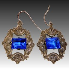 Brass & Cobalt Blue Faceted Glass Pierced Earrings