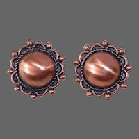 Copper Dome Clip Earrings by Bell Trading Company
