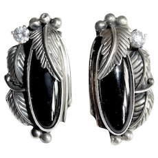 Native American Signed Sterling Earrings Onyx & CZ