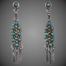 Native American Zuni Sterling & Turquoise Pierced Drop Earrings