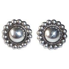 Sterling Domed Pierced Earrings w Beaded Frame
