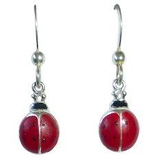 Sterling & Enamel Ladybug Pierced Earrings Vintage Store Stock