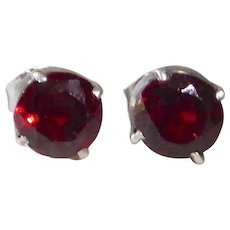 Sterling & Garnet Prong Set Garnet Post Earrings