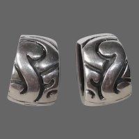 Zina Sterling Wide Hoop Pierced Earrings w Incised Design