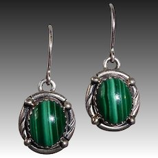 John Chavez Handcrafted Native American Sterling & Malachite Earrings