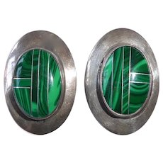 Native American Signed Sterling & Malachite Post Earrings