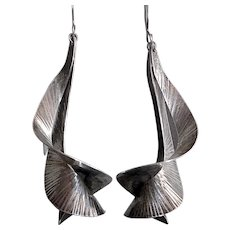 Handcrafted Sterling Sculptural Modernist Earrings
