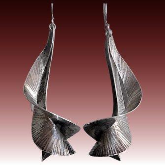 Handcrafted Sterling Sculptural Modernist Earrings