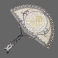 Ethnic Hand Painted & Pierced Hand Fan w Carved Horn Handle