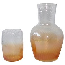 Iridescent Ombre Amber Tumble-Up Bedside Water Decanter & Tumbler