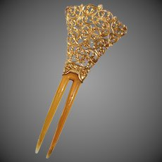 Celluloid & Gilt Filigree Metal Double Prong Hair Ornament