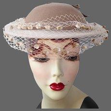Adolfo Tan & Cream Wool Felt Hat w Veil