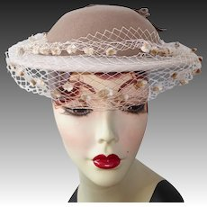 Adolfo Tan & Cream Wool Felt Hat w Veil