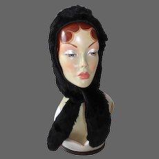 Vintage Black Rabbit Fur Hood Hat w Ties