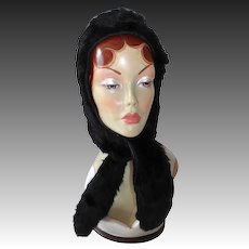 Vintage Black Rabbit Fur Hood Hat w Ties