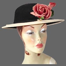 Splendid Vintage Black Wool Felt Brimmed Hat w Roses