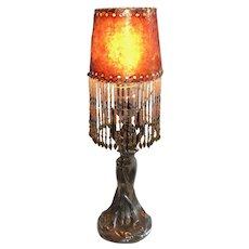 Art Nouveau Figural Woman Lamp Mica Shade w Glass Bead Fringe