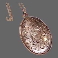 Edwardian Engraved 14k Gold Shell Locket GF Chain