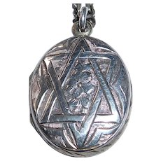 Rare Judaic Sterling Aesthetic Movement Engraved Star of David Locket