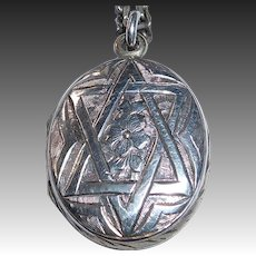 Rare Judaic Sterling Aesthetic Movement Engraved Star of David Locket