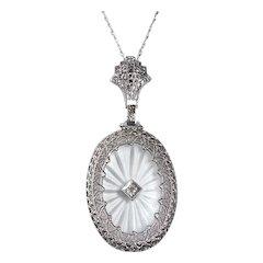 Art Deco 10k Camphor Crystal & Diamond Pendant Necklace 14k Chain