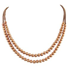 14k Double Strand Gold Bead Necklace Gold Filled Chain