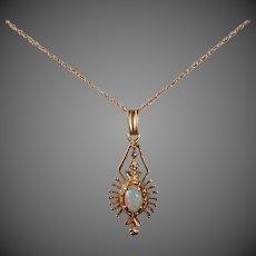 14k Opal Dimensional Pendant Necklace